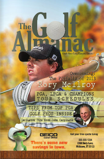 Cover of the magazing The Golf Almanac and Priority One Marketing Group that is not a scam says Molly Management.